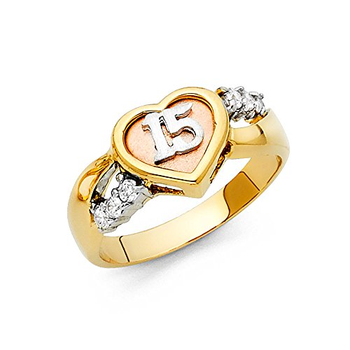 14k Yellow White Rose Gold Heart 15 Years Ring Quinceanera Band CZ Love Style Polished Size 7.5 14k Yellow White Rose