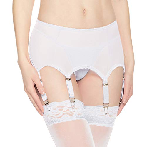 Slocyclub Mesh Garter Belt for Stockings/Lingerie with 6 Metal Clip Adjustable Straps Suspender(White,XL)