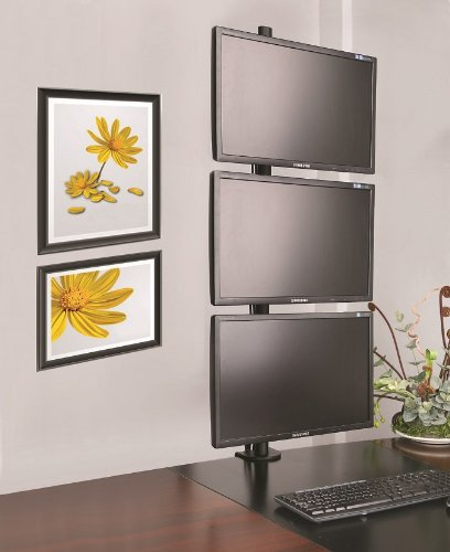 vivo triple lcd monitor desk stand desktop mount free standing vertical 3 screens up to 27. Black Bedroom Furniture Sets. Home Design Ideas