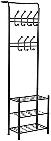 Metal Entryway Coat Shoe Rack 3-tier Shoe Bench with Coat Hat Umbrella Rack