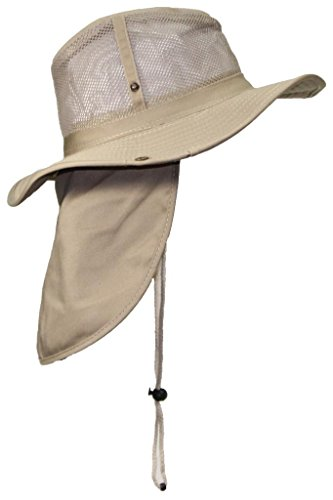 (Tropic Hats Packable Wide Brim Mesh Safari/Outback W/Neck Flap & Snap up Sides - Tan XL)