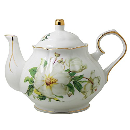 Jomop Ceramic Teapot Floral Design White 4 Cups 850 ml (Green)