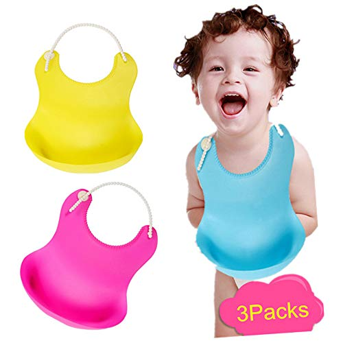 Silicone Baby Bib with Pocket and Food Catcher,Rubber Waterproof Bibs for Boy and Girl [3sets]