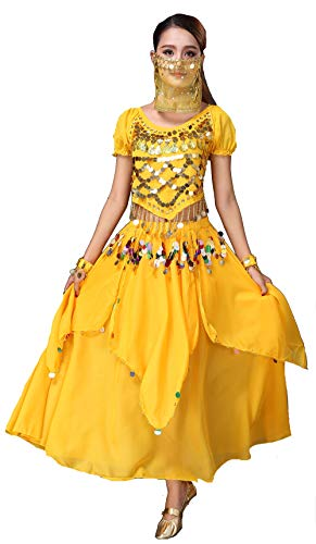 Women Genie Halloween Costume Belly Dance Tribal Top Skirt Veil Set,Yellow