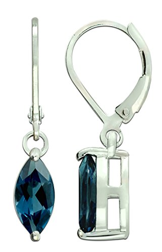 RB Gems Sterling Silver 925 Earrings GENUINE GEMS (LONDON BLUE TOPAZ, PERIDOT) 2 Cts, RHODIUM-PLATED Finish DANGLING Style (london-blue-topaz)
