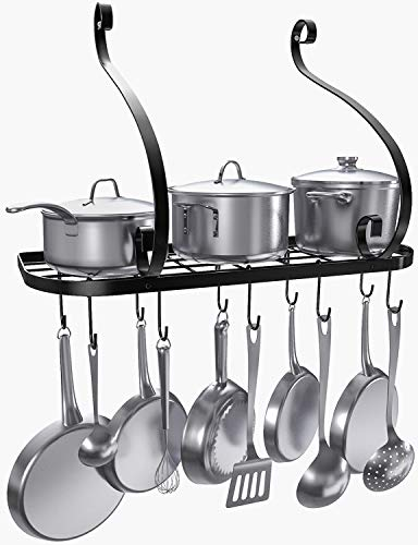 VDOMUS Wall Mount Pot Pan Rack, Kitchen Cookware Storage Organizer, 24 by 10 in with 10 Hooks, Black ()