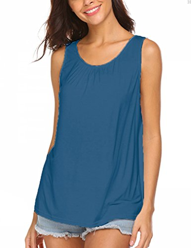 Summer Tank Tops for Women Solid Plain Keyhole Sleeveless Blouses Shirts Plus Size Cobalt Blue