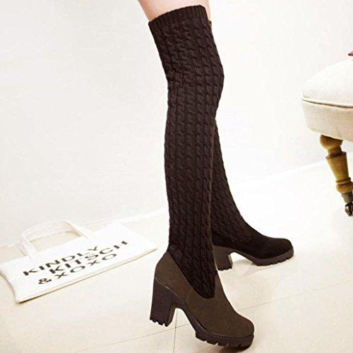 Knee Womens High Tenworld Brown 4 Boots Thigh Fashion Over Chunky High Brown 5 Heels The Boot fYfAq1FS