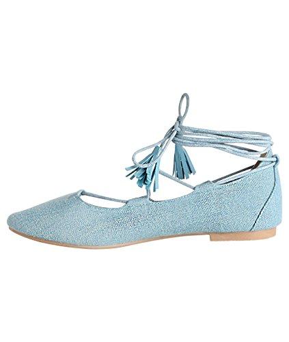 KRISP Bailarinas Mujer Zapatos Planos Vestir Primavera Verano 2017 Vaquero (17077)