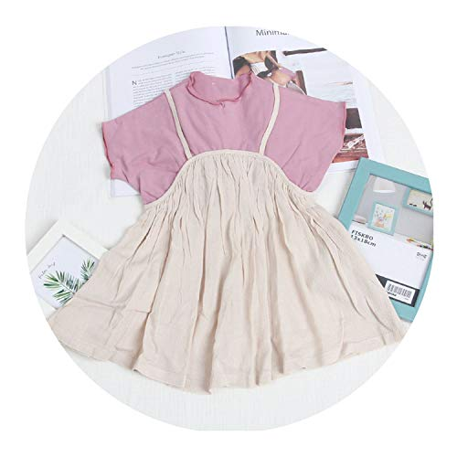 juan 9 Skirts Girls Baby Fake Two Piece Linen and Cotton Slip Dress Casual Toddler Dress,Beige and ()