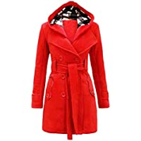 FAPIZI ♥ Women Coat ♥ Womens Warm Winter Hooded Long Section Coat Belt Double Breasted Jacket