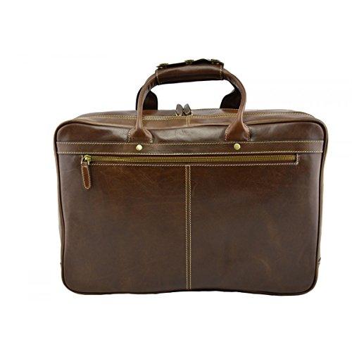 Business Tasche Aus Echtem Leder Farbe Braun - Italienische Lederwaren - Aktentasche