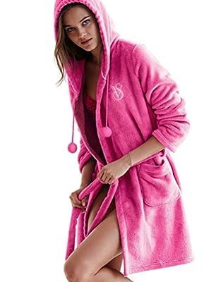 Victoria's Secret The Cozy Short Robe Fleece Monogramed Hooded Pink