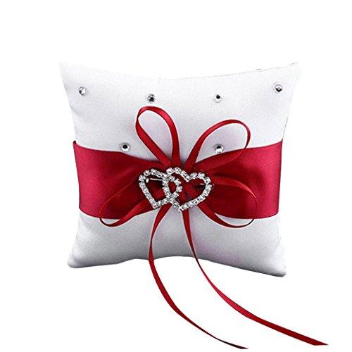 Ehonestbuy Double Heart Rhinestone Wedding Ring Bearer Pillow 7.9 inch x 7.9 inch (Red)