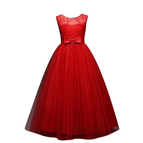 Children Dess Little Big Girls'Tulle Dresses 6-14T Ruched Lace Pageant Party Fall Wedding Bridesmaid Floor Length Evening Dance Gowns, Red, 13-14 Years (170) ()