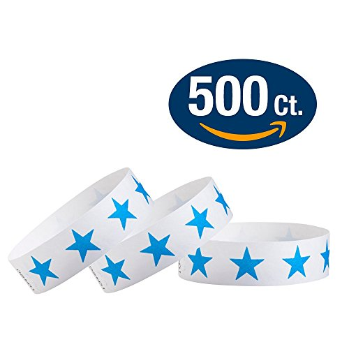 "WristCo Blue Stars 3/4"" Tyvek Wristbands - 500 Pack Paper Wristbands For Events"