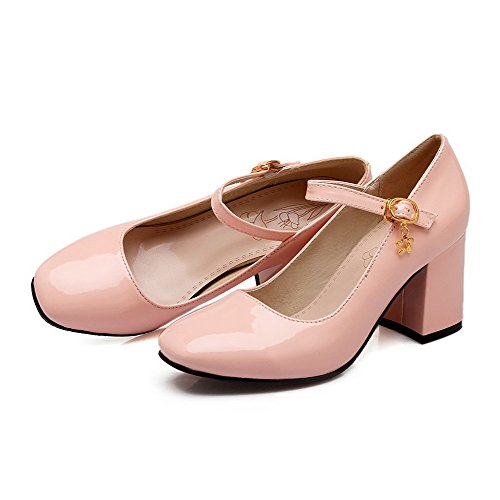 Couleur Talon Femme Verni À Carré Rose Légeres Unie Chaussures Haut Boucle Agoolar C7qw10