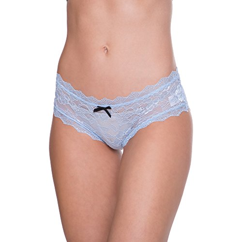 Nanette Nanette Lepore Women's 3 Pack Lace Hipster Boyshort Panty Set With Lace Up Detail Blue,White,Black (Blue Lace Boyshort Set)