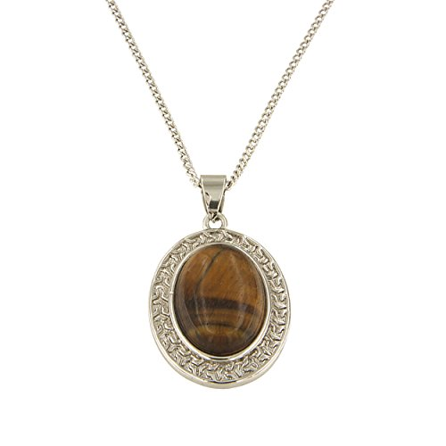 Yellow Birthstone Tiger Eye Oval Pendant Necklace with Chain for ()