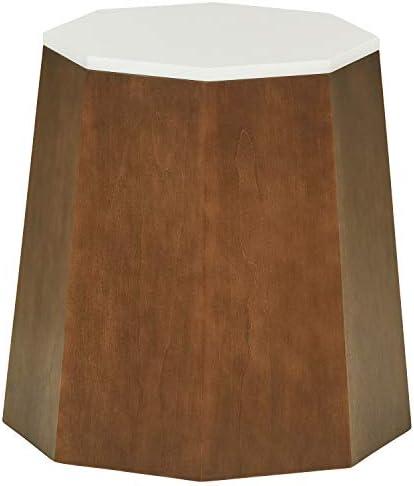 Amazon Brand Rivet Modern Storage Ottoman Side Table, 17.13 W, Birch Veneer with a White Top