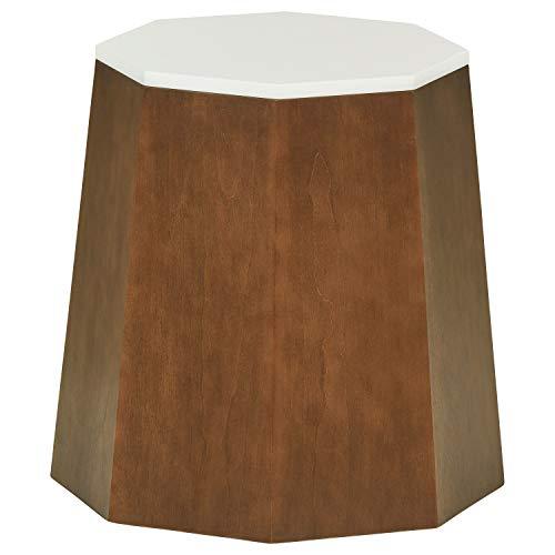 Rivet Modern Storage Ottoman Side Table, 17.13 W, Birch Veneer with a White Top