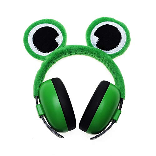 (HANXIAODONG Baby Safety Ear Muffs Noise Cancelling Ear Muffs for Infant Toddlers with Frog Eye Giraffe Ear Fox Ear (Color : Green, Size : Free Size) )