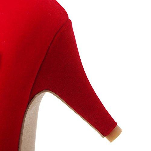 Balamasa Dames Metalen Ornament Gesp Op Wielen Hielde Schoenen Imiteerde Lederen Pumps-schoenen Rood