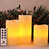 LED Lytes Battery Operated Candles, Set of 3 Ivory Wax Pillar Candle with Flickering Amber Flame and Timer Remote Control Battery Operated Candles for Decorations and Gifts