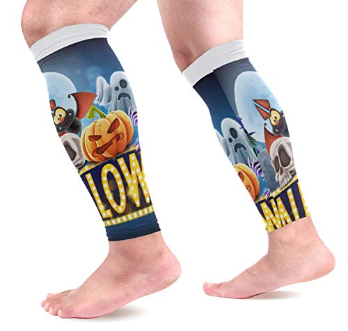 KEAKIA Halloween Charaters Calf Compression Sleeves Shin Splint Support Leg Protectors Calf Pain Relief for Running, Cycling, Travel, Sports for Men Women (1 Pair) -
