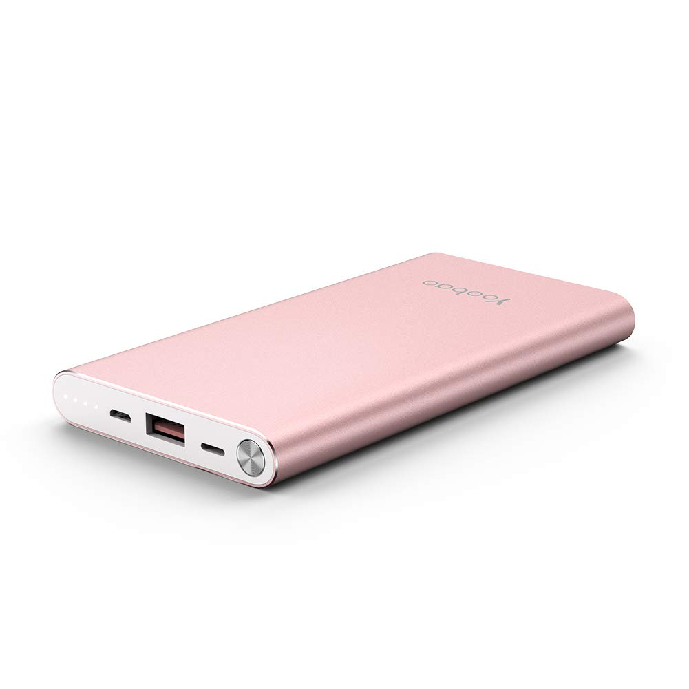 Power Bank 10000mAh, Yoobao Slim Portable Charger Powerbank External Cell Phone Battery Backup (Micro & Lightning Input) Compatible iPhone X 8 7 Plus Android Samsung Galaxy More - Rose Gold