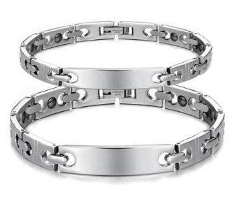 Son ou le Sien Correspondant de Couple Titane Bracelet Magnétique Anti-fatigue, Anti-rayonnement dans une Boîte-Cadeau -BR210 (Sa)