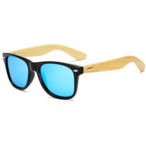 Polarized Bamboo Wood Arms Sunglasses for Women Men With Box By Long Keeper (Black, - Arm Bamboo Sunglasses