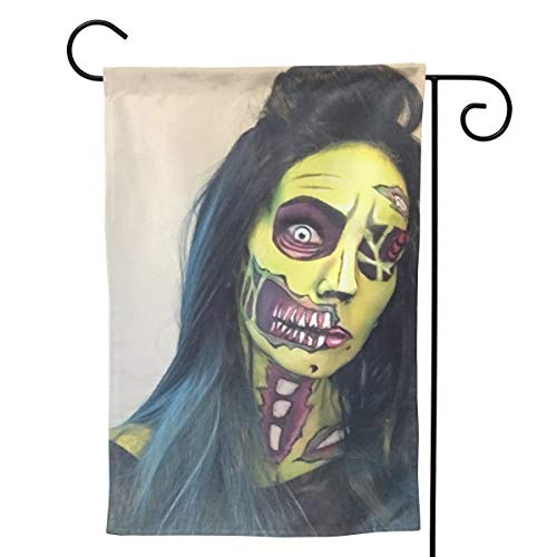 Label Love Zombie Halloween Makeup Mad Big Iarge Jumbo for Party Themed Welcome Outdoor Outside Decorations Ornament Picks Garden Yard Decor Double Sided 28 X 40 Flag ()