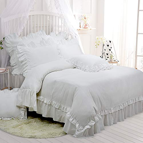 - TEALP King Size Bedding Set White Shabby Chic Duvet Cover with 2 Decorative Pillow Shams