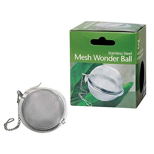 HIC Loose Tea Leaf Strainer and Herbal Infuser, 18/8 Stainless Steel, Mesh Tea Ball, 3-Inch