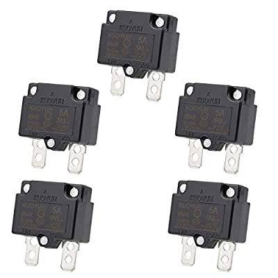 Clyxgs 88AR-5A Overload Protector,5 Amp Automatic Reset CLB Circuit Breaker 32VDC 125/250VAC 50/60Hz with Quick Connect Terminals Thermal Circuit Breaker 5Pcs
