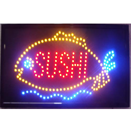 CHENXI Sushi Store neon Sign 48X25 cm Indoor Ultra Bright Flashing led Sushi Display Sign Food Store led Sign (48 X 25 cm, A)