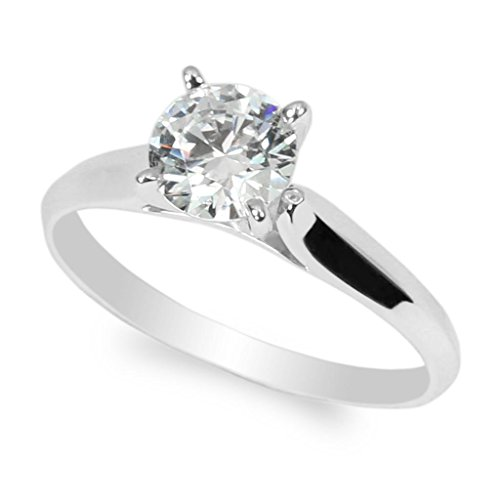 JamesJenny 10K White Gold 1.0ct Round CZ Classic Solid Engagement & Wedding Solitaire Ring Size 4.5 (Ring Carat Setting Solitaire 1)