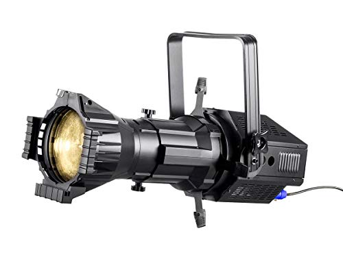 - Monoprice COB LED Ellipsoidal - White | 3200K 19 Degree With Gobo Holder, 200W, 3-channel DMX control