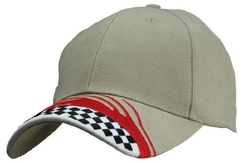 DALIX Mens Racing Track Checkers Bill Cap Cotton Adjustable Hat 6 Panels Khaki Red