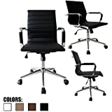 2xhome Mid Century Office Chair With Arms Wheels Modern Desk Chair Ergonomic Executive Chair Mid back PU Leather Arm Rest Tilt Adjustable Height Swivel Task Computer Conference Room (Black)
