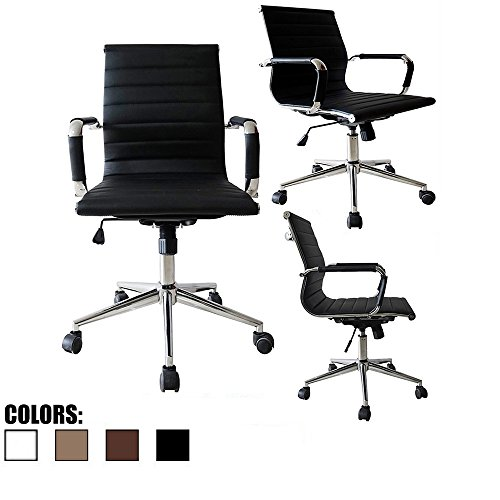 2xhome - Black- Eames Modern Mid Back Ribbed PU Leather Swiv