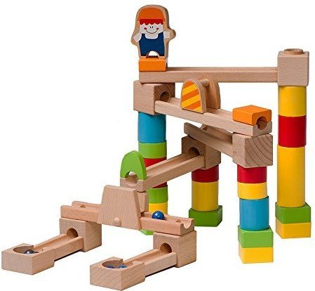 Checkered Fun Marble Run - Wooden Marble Run/Maze Construction Set - 40 Piece Set - Marbles Included - Educational Toy - Fun Building Game For Kids