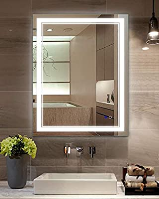Keonjinn Horizontal/Vertical Bathroom Lighted Mirror Defog Wall Mounted Makeup Mirror with LED Light Variety of Sizes(Hard Wire)