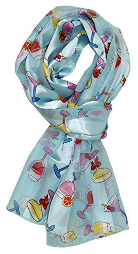 Out On The Town Cocktail Print Silk Feel Scarf
