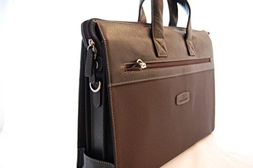 Laptop-Tasche aus Leder und Nylon in schwarz