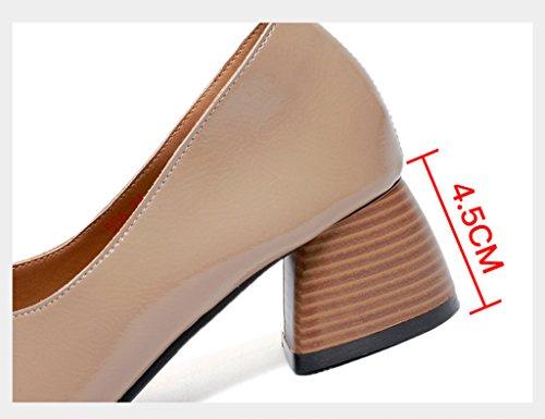 Hauts Cuir Simples Respirant Beige Beige College Taille Femmes couleur Printemps Talons 38 Hwf Femme Chaussures qwxazIw