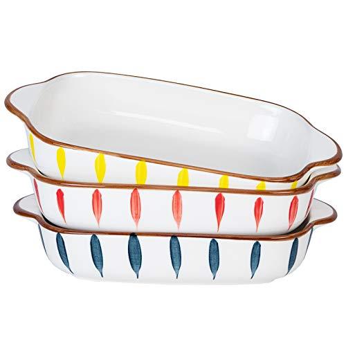 "AQUIVER 20oz Ceramic Small Baking Dish – 7"" x 5"" Individual Baking Pan, Color Painted Porcelain Rectangular Bakeware…"