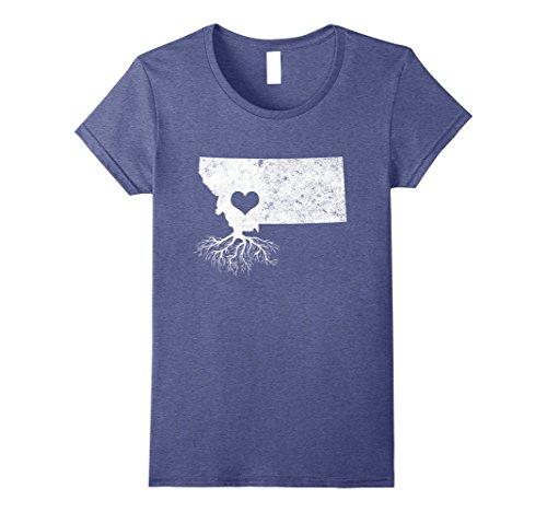 Womens Montana Roots T Shirt  I Love Montana Large Heather Blue