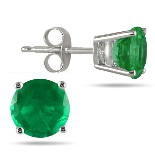 Genuine 5mm Round Emerald Gemstone Earrings Set in 14k White Gold